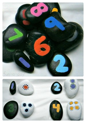 Number Rocks Matching Game for Math Fun from Fun-A-Day! at B-InspiredMama.com