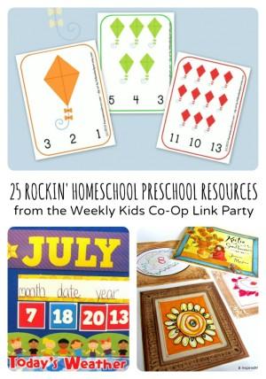 Rockin' Homeschool Preschool Resources from The Weekly Kids Co-Op Link Party
