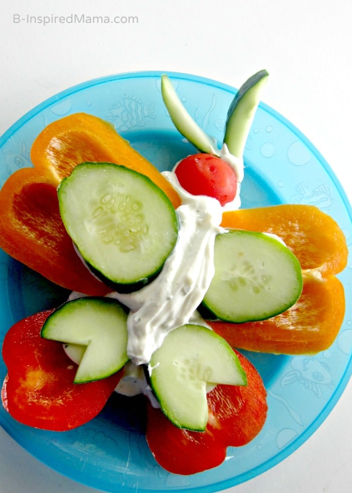 A Fun Kids Vegetable Butterfly Snack at B-InspiredMama.com