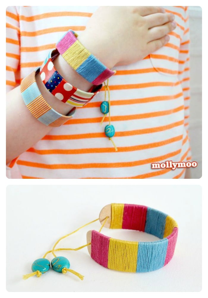 A Kids Bracelet Popsicle Stick Craft from MollyMoo at B-InspiredMama.com