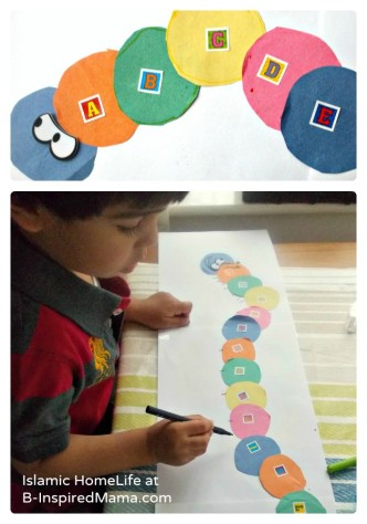 Alphabet Very Hungry Caterpillar Craft from Islamic HomeLife at B-InspiredMama.com