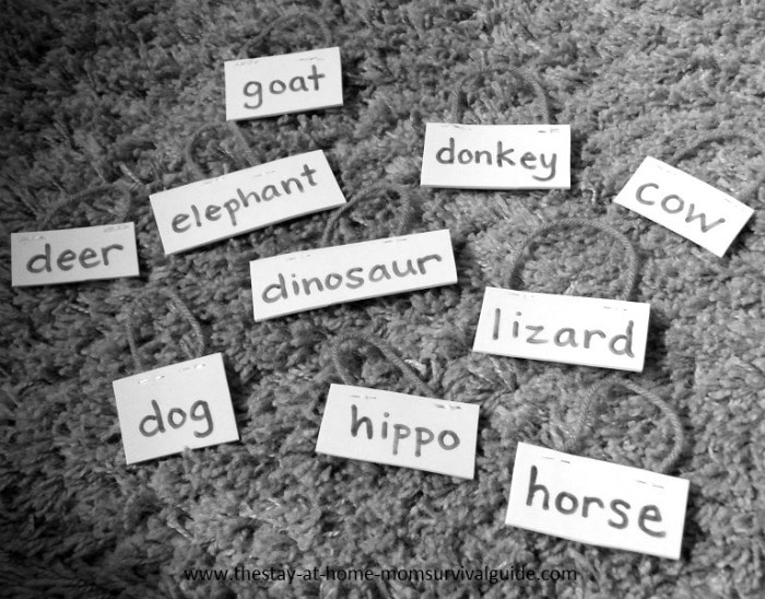 Animal Name Tags for Animal Name Learning from B-InspiredMama.com