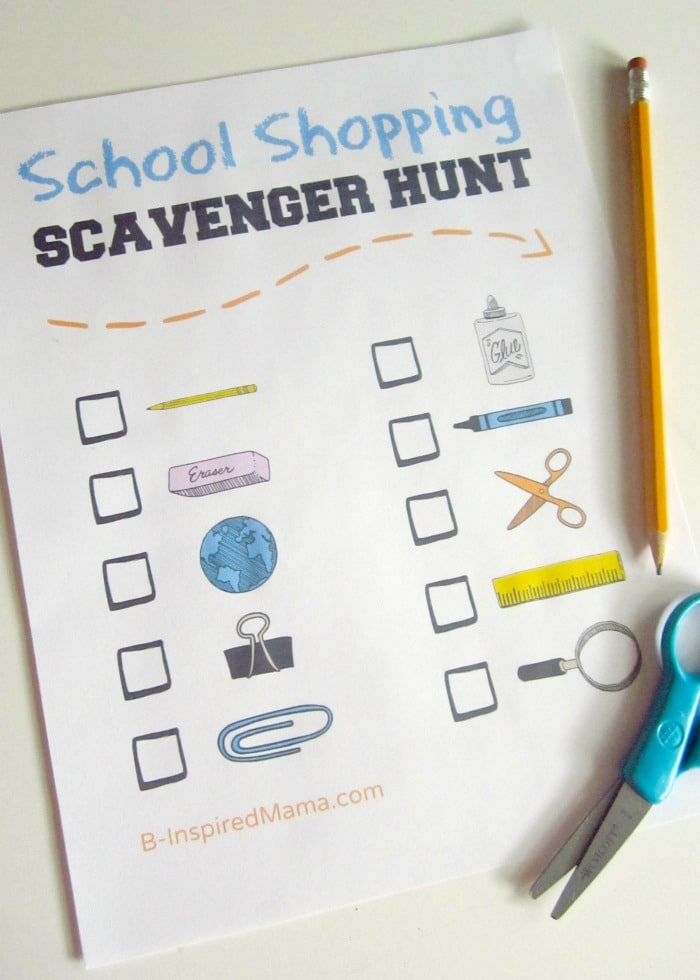 Back to School Shopping Scavenger Hunt for Kids at B-InspiredMama.com