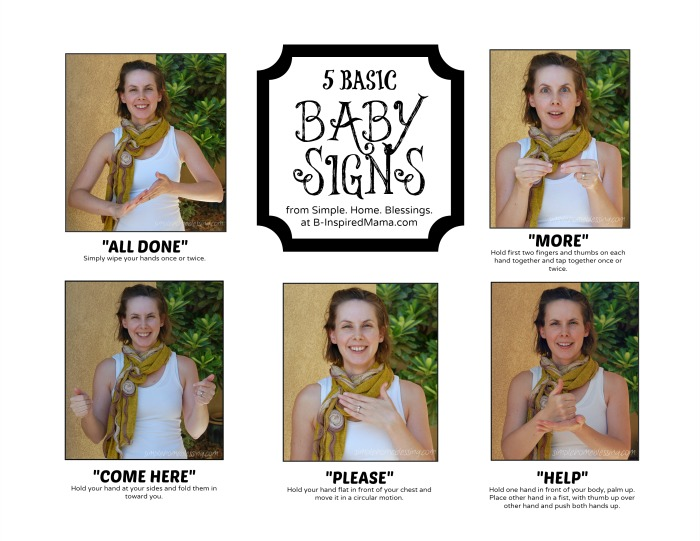 Basic Baby Sign Language Chart from Simple Home Blessing at B-InspiredMama.com