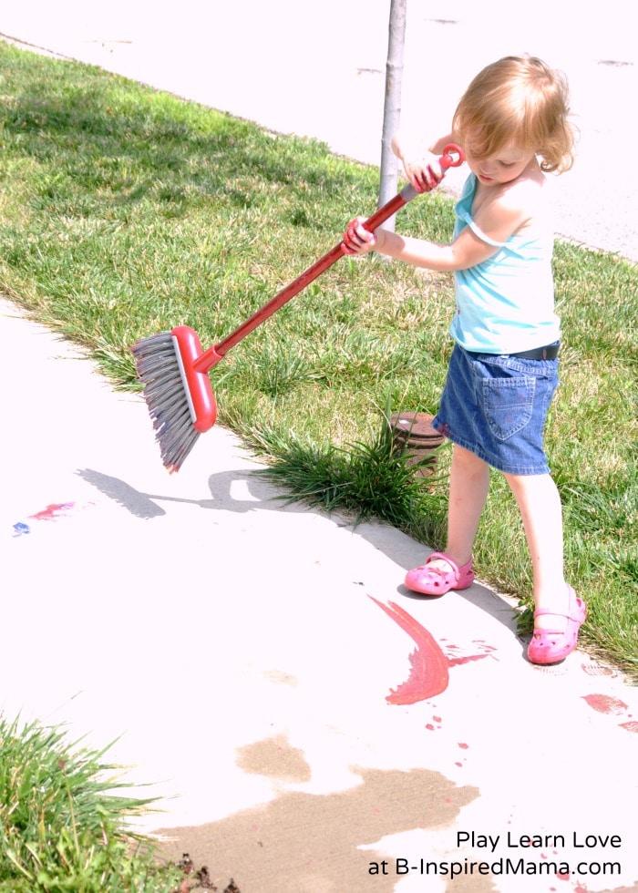 Big Movements for Big Art Broom Painting at B-Inspired Mama