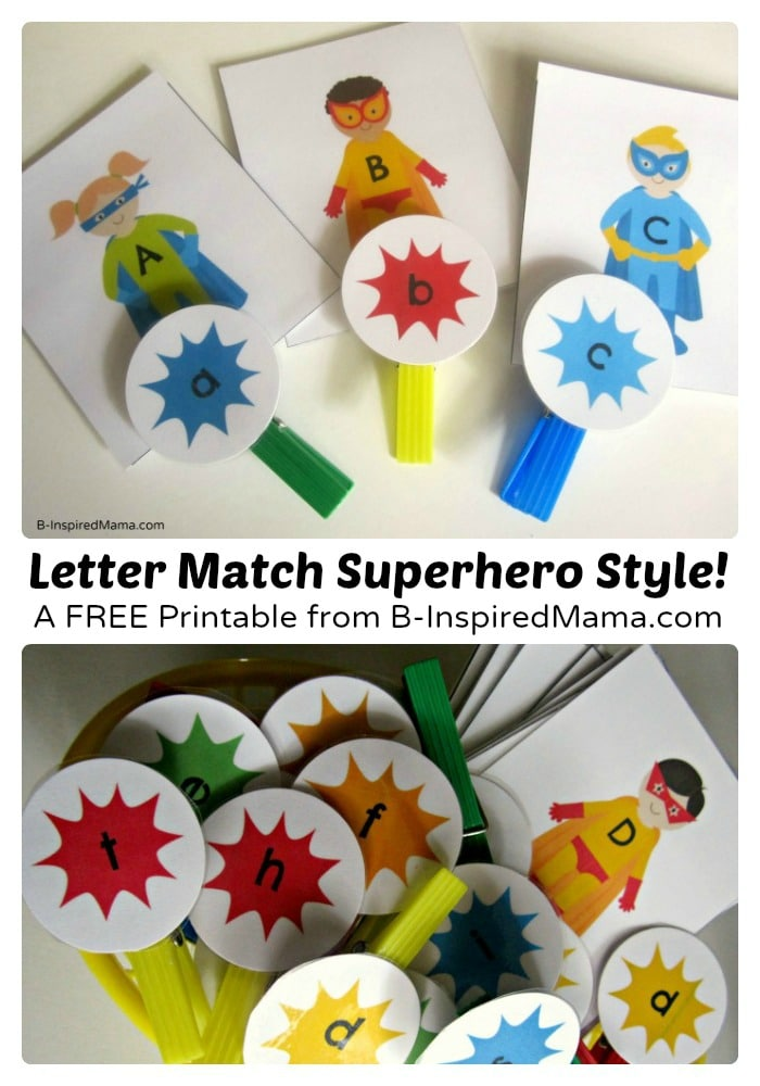 Free Printable Upper and Lower Case Letter Match Game at B-Inspired Mama