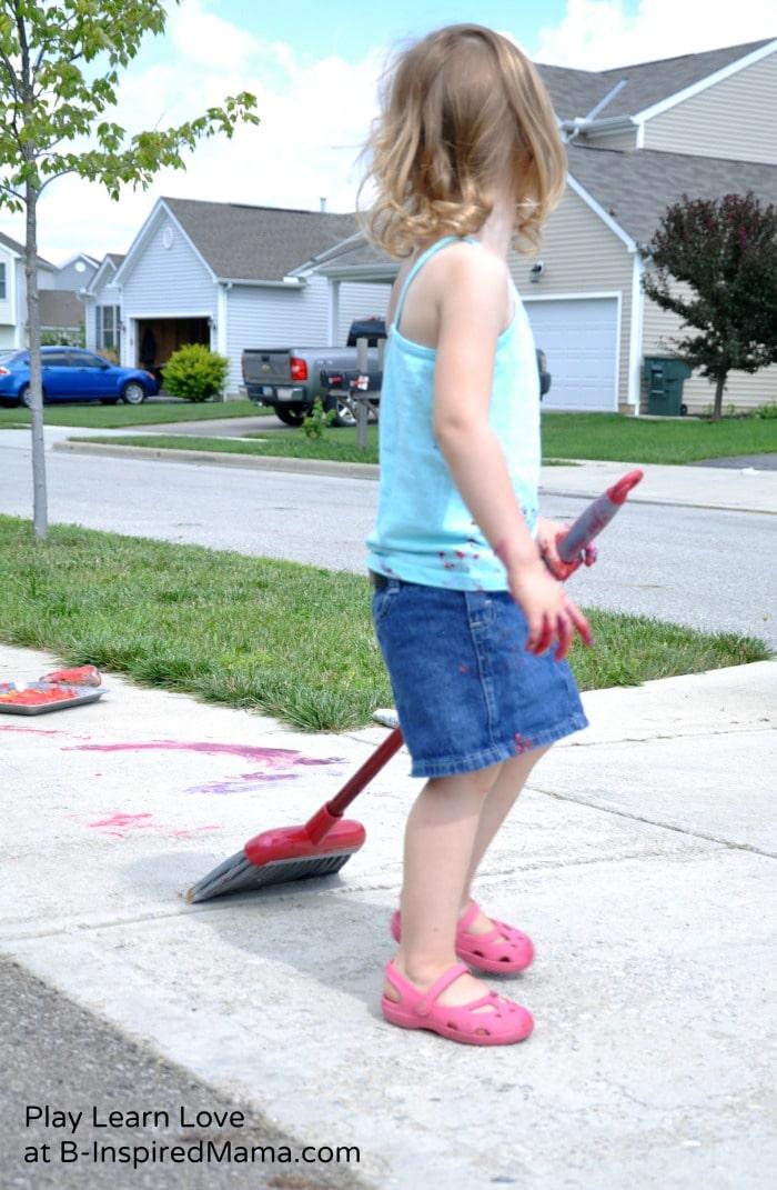 Kid Broom Painting at B-Inspired Mama