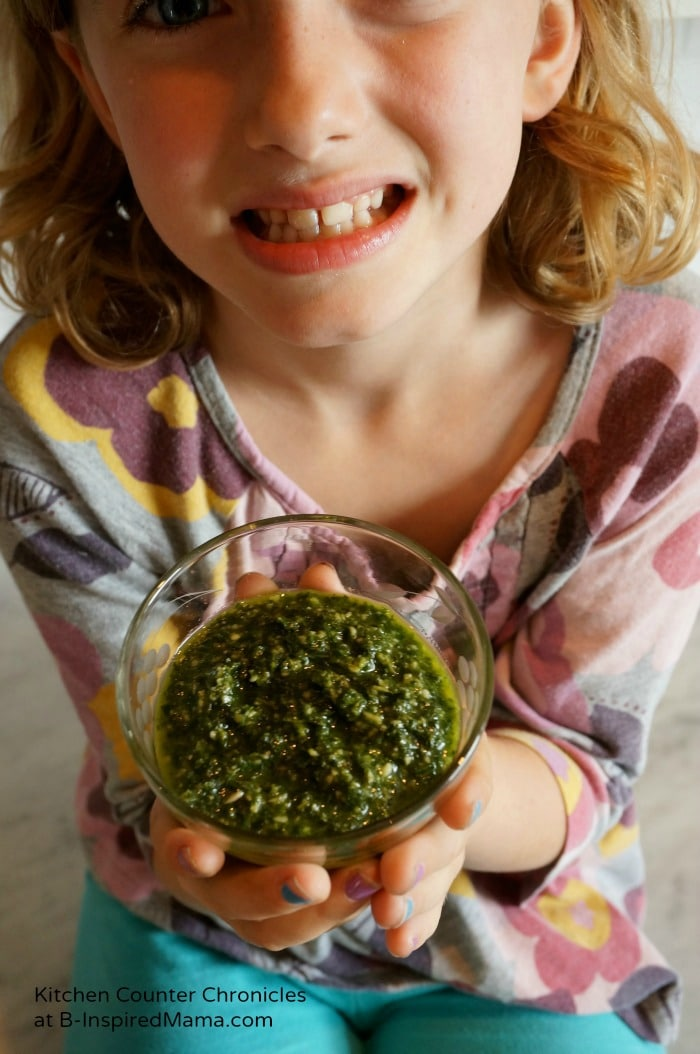 Kid Made Basil Pesto Kids Recipe at B-Inspired Mama