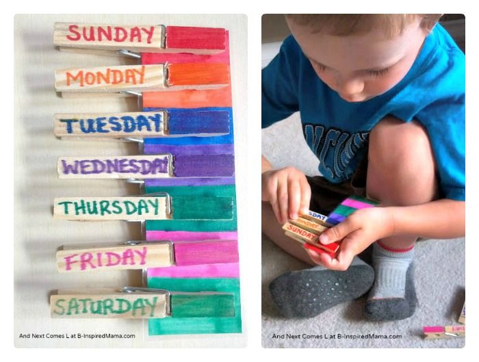 Learning the Days of the Week with a DIY Clip Game at B-InspiredMama.com