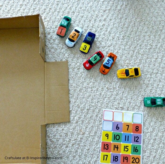 Making a Car Parking Numbers Game - Craftulate at B-InspiredMama.com