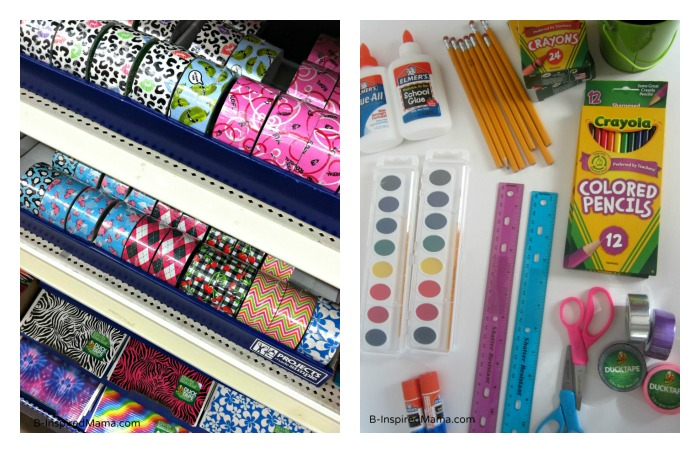 School Supplies for a Back to School Craft Using Duck Tape at B-Inspired Mama