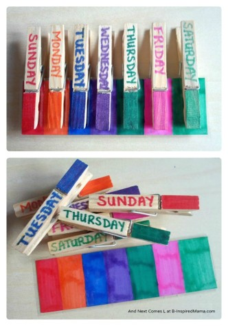 Simple Clip Game for Learning the Days of the Week at B-InspiredMama.com