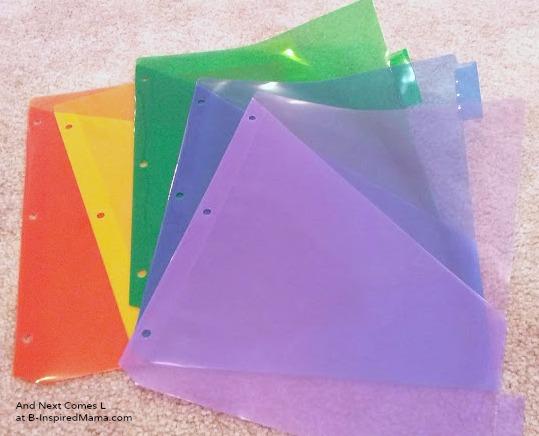 Transparent File Folders for Making Light Box Manipulatives at B-Inspired Mama