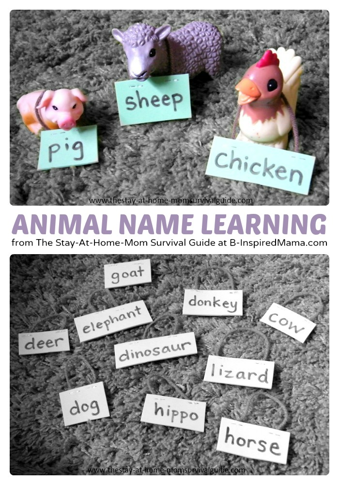 Using Animal Name Tags for Learning Animal Names at B-InspiredMama.com