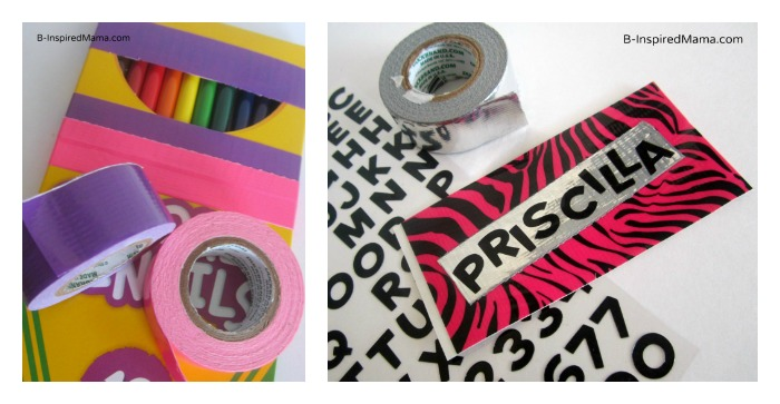 Using Duck Tape to Personalize School Supplies in this Back to School Craft at B-Inspired Mama