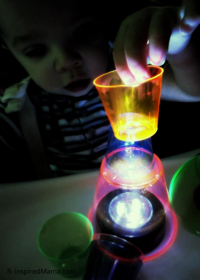 Baby Play with Cups on the Kids Light Box at B-Inspired Mama