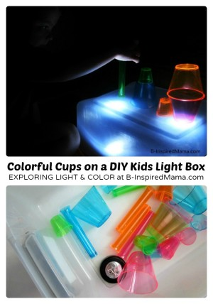 http://b-inspiredmama.com/wp-content/uploads/2013/09/Colorful-Cups-and-Kids-Light-Box-Play-at-B-Inspired-Mama-300x428.jpg