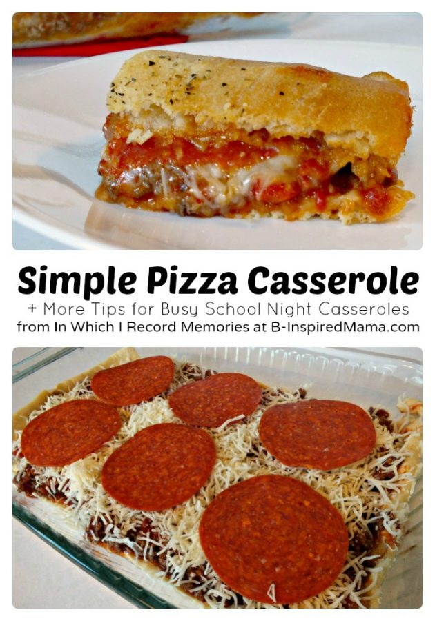 Easy Recipe for Pizza Casserole at B-Inspired Mama