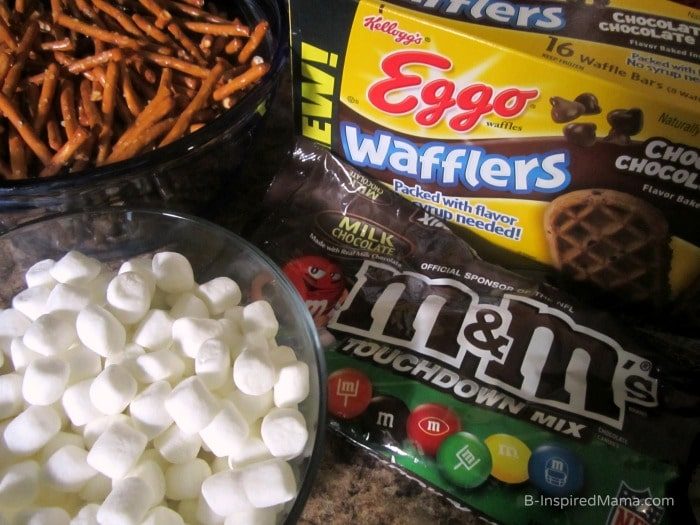 Ingredients for an Easy Football Party Mix Recipe at B-Inspired Mama