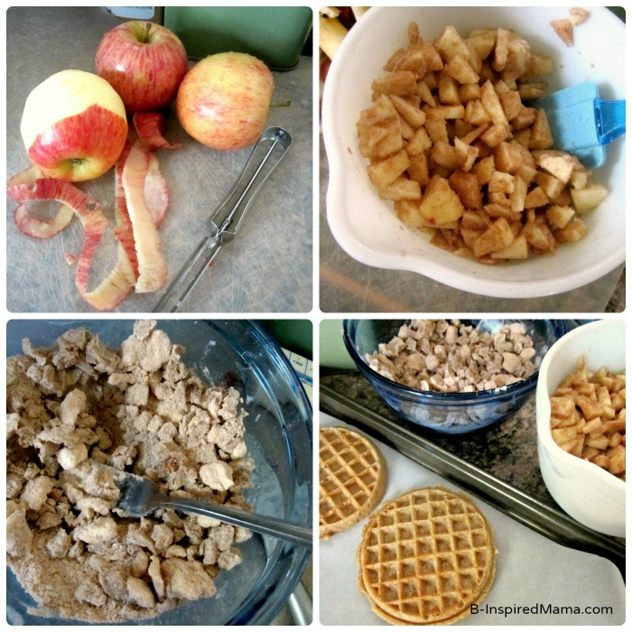 Making a Pumpkin Apple Crisp Waffle Recipe at B-Inspired Mama