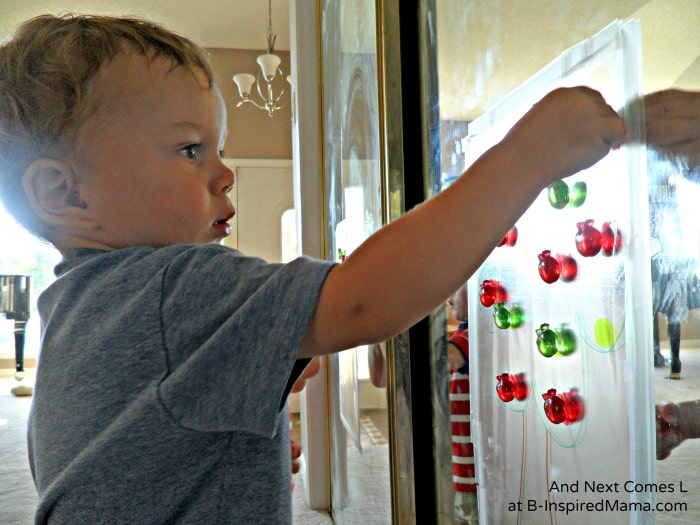 Matching Colors with A Sticky Apple Tree Activity at B-Inspired Mama