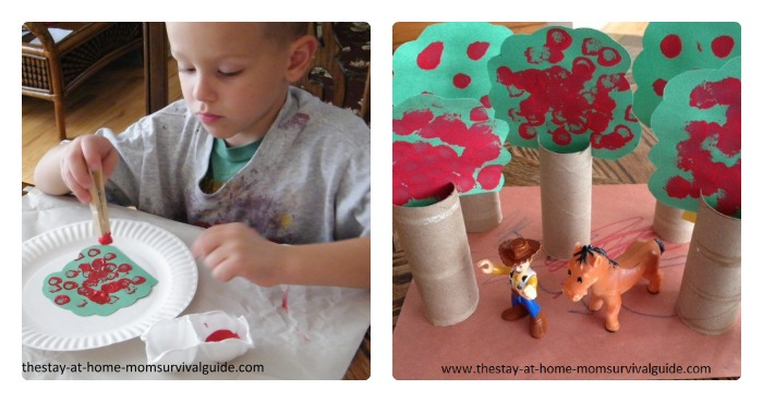 Painting Apple Trees for Preschool Learning Games and Play at B-Inspired Mama