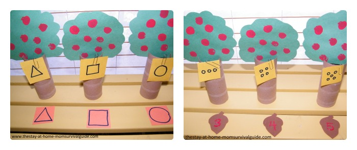 Preschool Learning Games for Shapes and Numbers with Apple Trees at  B-Inspired Mama