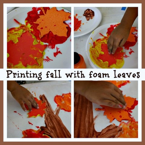 Printmaking Leaves for a Fall Season Craft at B-Inspired Mama
