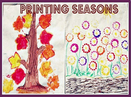 Comparing Spring and Fall with a Printmaking Season Craft at B-Inspired Mama