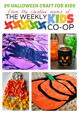24 Halloween Crafts for Kids from The Weekly Kids Co-Op Link Party at B-Inspired Mama
