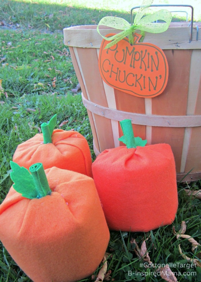 A DIY Pumpkin Chuckin' Halloween Game - Sponsored by #CottonelleTarget at B-Inspired Mama