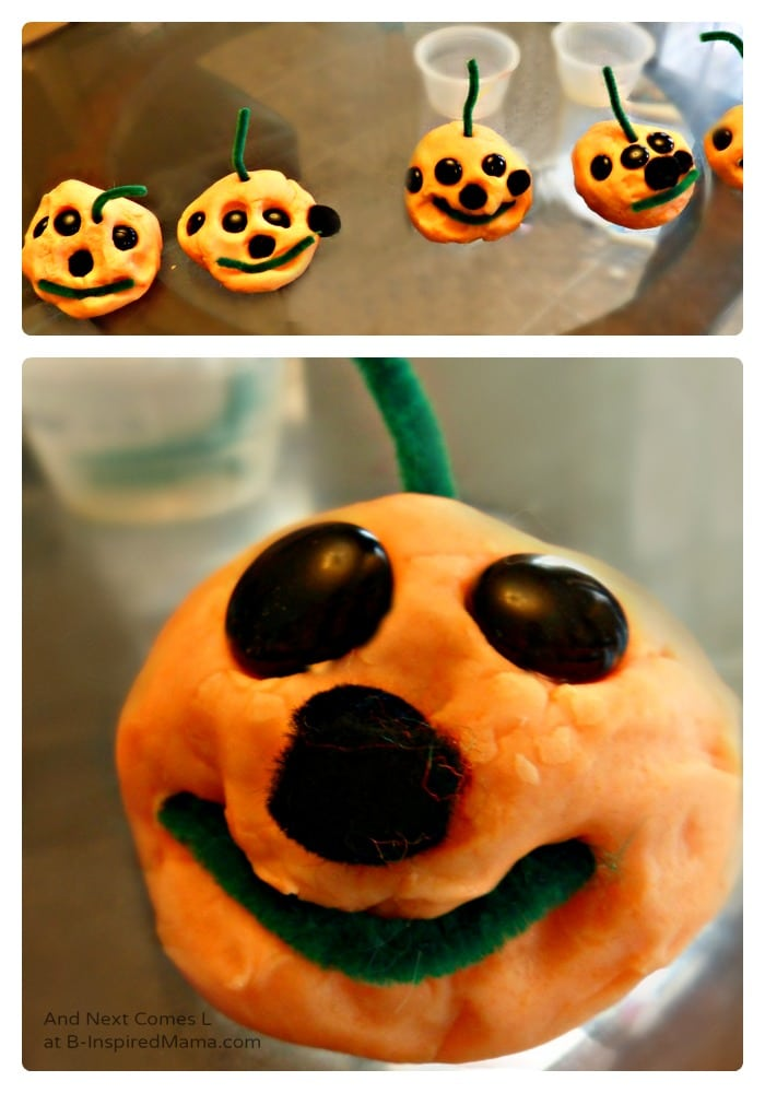 A Fun Play Dough Jack-O-Lantern Halloween Activity at B-Inspired Mama