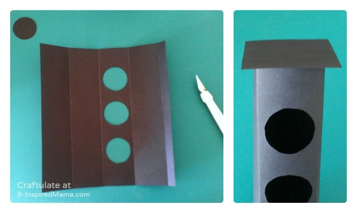 Cutting the Holes for a DIY Toy Traffic Light by Craftulate at B-Inspired Mama
