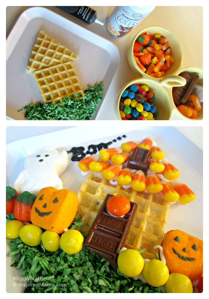 Fun Halloween Treat Haunted House Recipe for Kids - Sponsored by #EggoWaffleOff at B-Inspired Mama