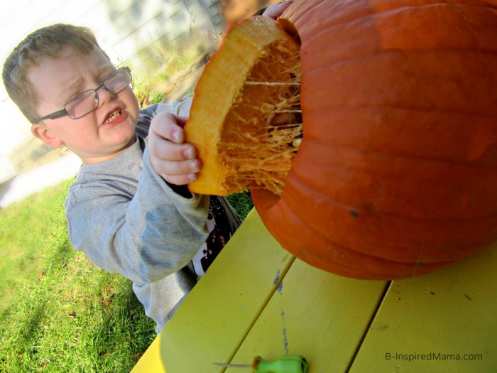Gutting the Pumpkin + Pumpkin Carving Tips for Kids at B-Inspired Mama
