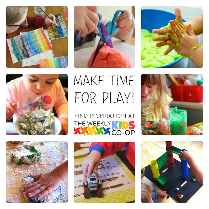 Hundreds of Creative Play Ideas at The Weekly Kids Co-Op Link Party at B-Inspired Mama