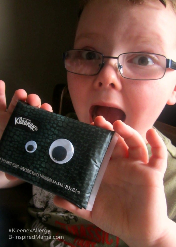 Make Monster Tissues for Kids During Allergy Season - Sponsored by #KleenexAllergy at B-Inspired Mama