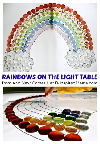 Making Rainbows on the Light Table at B-Inspired Mama