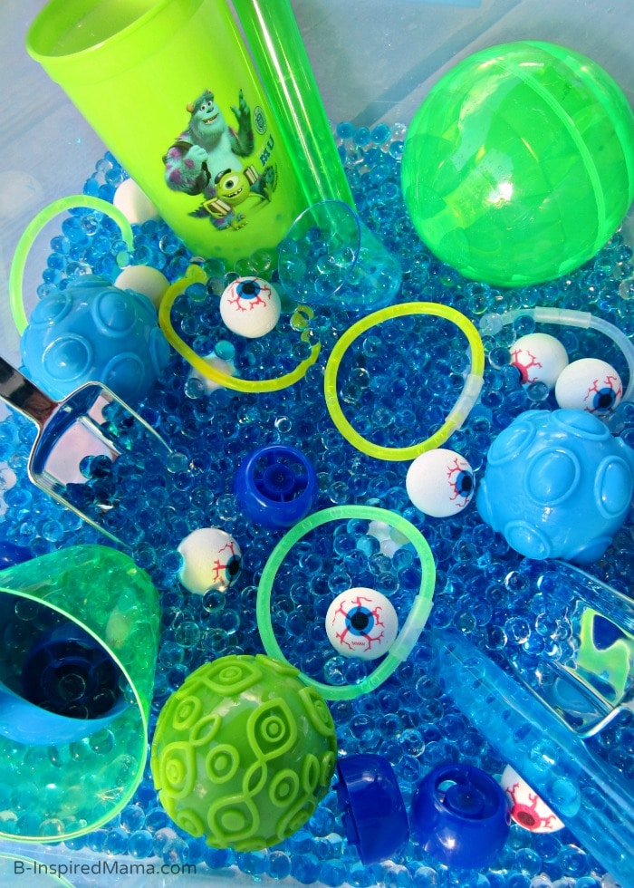 Monsters University Inspired Monster Eyes Sensory Play at B-Inspired Mama