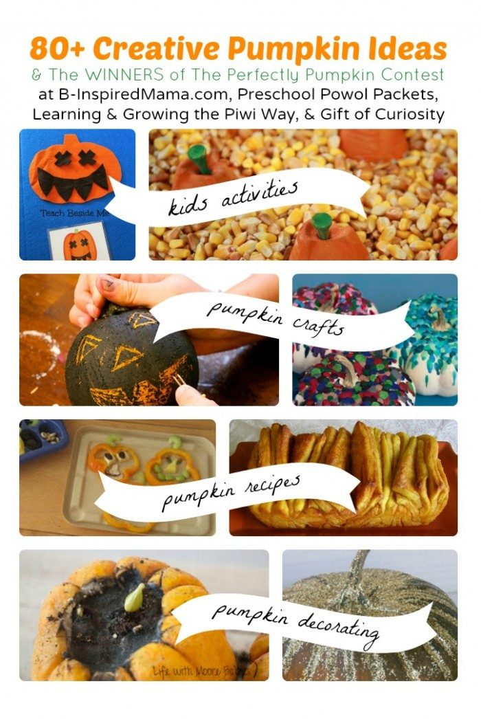 Over 80 Pumpkin Ideas + Pumpkin Contest Winners at B-Inspired Mama