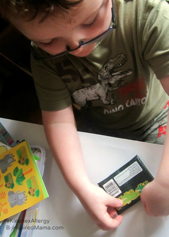 Personalizing Kids Tissues with Stickers for Allergy Season - Sponsored by #KleenexAllergy at B-Inspired Mama