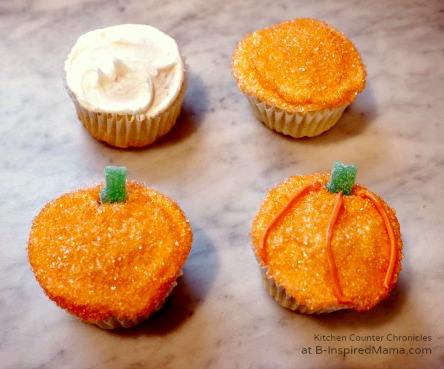 Pumpkin Halloween Cupcakes at B-Inspired Mama