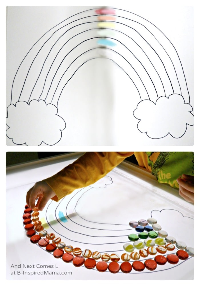 Rainbow Play in the Light Table for Kids at B-Inspired Mama