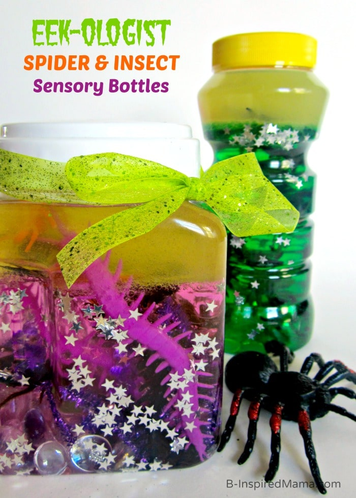 Sensory Bottles of Spiders and Insects for Kids at B-Inspired Mama