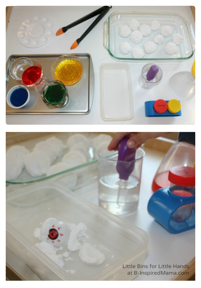 Setting Up Science Fun with Fizzing Eyeballs for Halloween at B-Inspired Mama