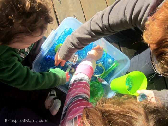 Some Monsters University Inspired Monster Eyes Sensory Play at B-Inspired Mama