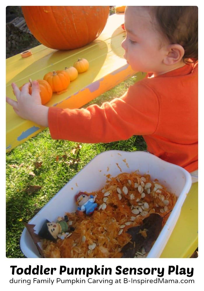 Toddler Sensory Pumpkin Play + Pumpkin Carving Tips for Kids at B-Inspired Mama