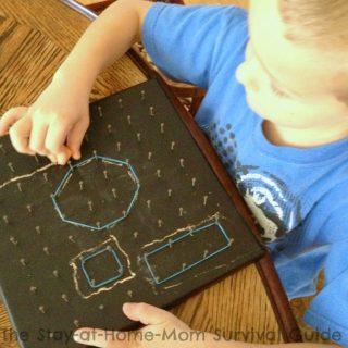 A DIY Chalkboard Geoboard for Making Math Fun for Kids at B-Inspired Mama