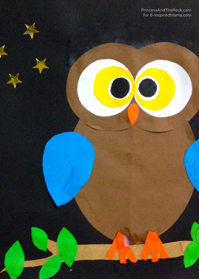 a kids owl craft for exploring shapes at b inspired mama