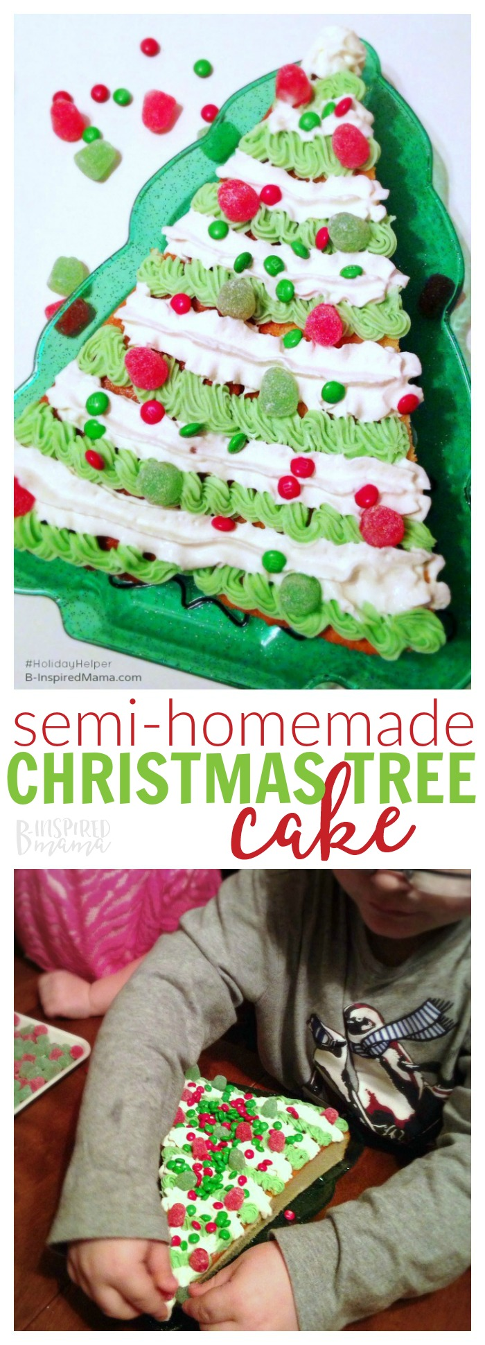 A Semi-Homemade Christmas Tree Christmas Cake - So easy the kids can do it!